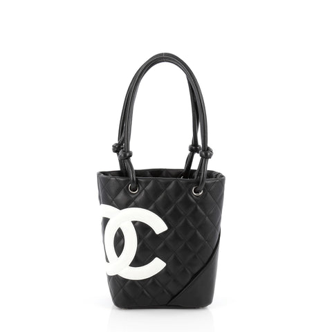 cb86b70c0db4a2 Buy Chanel Cambon Tote Quilted Leather Petite Black 1674504 – Rebag