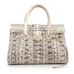Jimmy Choo Rosalie Convertible Satchel Snakeskin Medium Neutral