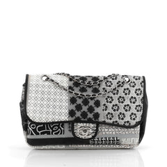 Chanel Classic Single Flap Bag Printed PVC and Tweed Medium black