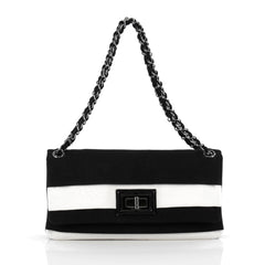 Chanel Mademoiselle Lock Chain Flap Bag Grosgrain Medium black