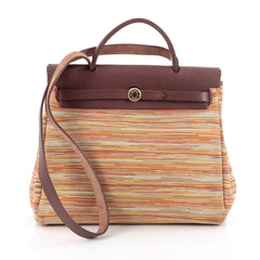 Hermes Herbag Vibrato and Leather PM Brown