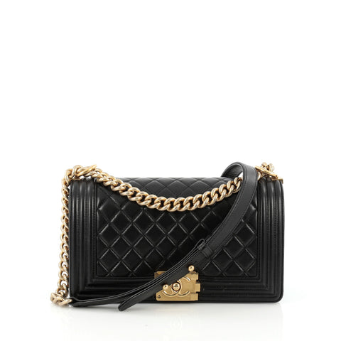 f6be74fd533f Buy Chanel Boy Flap Bag Quilted Lambskin Old Medium Black 1676001 – Rebag