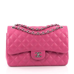 Chanel Classic Double Flap Bag Quilted Lambskin Jumbo pink