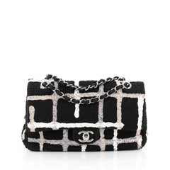 Chanel Classic Double Flap Bag Painted Tweed Medium Black