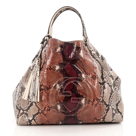 536706eb8be6 Buy Gucci Soho Shoulder Bag Python Large Neutral 1683602 – Rebag