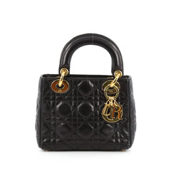 Christian Dior Lady Dior Handbag Cannage Quilt Lambskin Mini Black