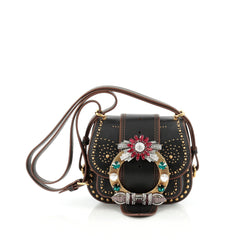Miu Miu Dahlia Crossbody Bag Crystal Embellished Leather Small Black