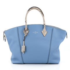 Louis Vuitton Soft Lockit Handbag Leather with Python MM Blue