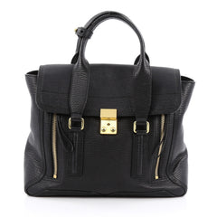 3.1 Phillip Lim Pashli Satchel Leather Medium Black