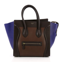 Celine Tricolor Luggage Handbag Leather Mini Brown
