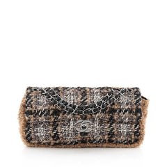Chanel CC Chain Flap Tweed with Shearling East West Brown