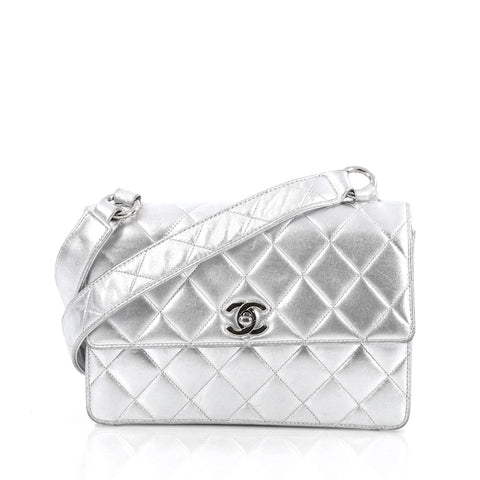 3e96031d050d Buy Chanel Vintage Box Flap Bag Quilted Lambskin Small Gray 1694205 – Rebag