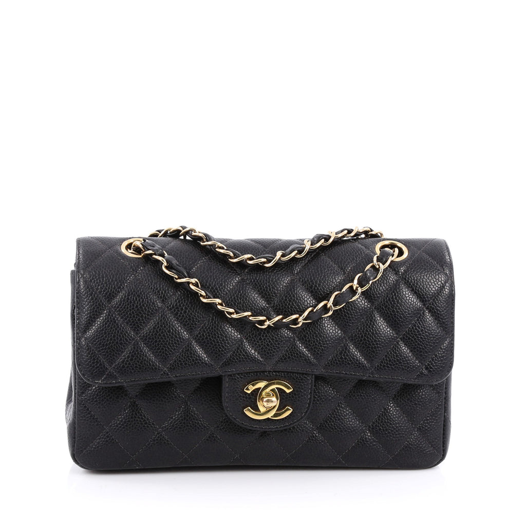 Buy Chanel Classic Double Flap Bag Quilted Caviar Small 1695201 ... : chanel quilted small bag - Adamdwight.com