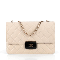 Chanel Beauty Lock Flap Bag Quilted Sheepskin Large White
