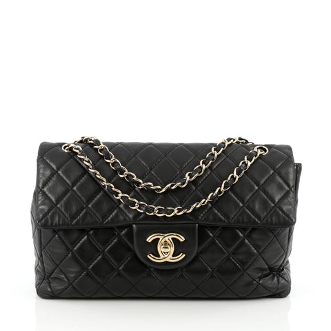 3ac5f657ff80 Buy Chanel Classic Soft Flap Bag Quilted Lambskin Maxi Black 1696403 – Rebag