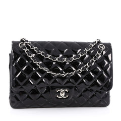 Chanel Classic Double Flap Bag Quilted Patent Jumbo Black