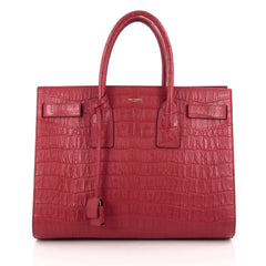 Saint Laurent Sac De Jour Carryall Handbag Crocodile Embossed Leather Medium Red