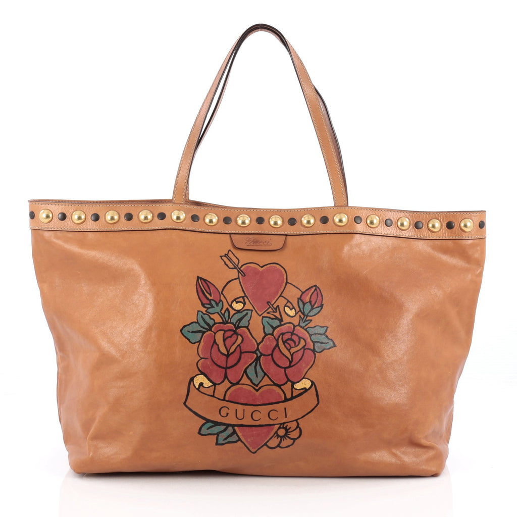 fee09b4a244 Buy Gucci Tattoo Babouska Tote Leather Medium Brown 1699009