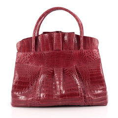 Nancy Gonzalez Ruffle Convertible Tote Crocodile Large Red