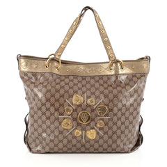 Gucci Irina Babouska Tote GG Coated Canvas Large Gold