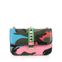 Valentino Glam Lock Shoulder Bag Camo Leather and Canvas pink