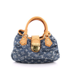 Louis Vuitton Pleaty Handbag Denim Small Blue