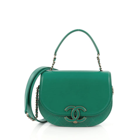 8c311c090bddb6 Buy Chanel Coco Curve Top Handle Bag Goatskin Small Green 1707204 – Rebag