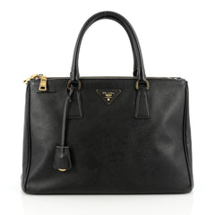 Prada Double Zip Lux Tote Saffiano Leather Medium Black