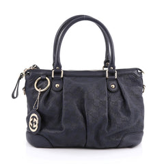 Gucci Sukey Top Handle Satchel Guccissima Leather Medium blue