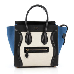 Celine Luggage Handbag Canvas and Leather Micro Blue