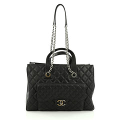 Chanel Two-Tone Front Pocket Shopping Tote Quilted Goatskin Large black