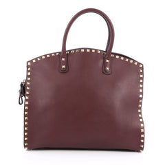 Valentino Rockstud Convertible Dome Tote Leather Purple