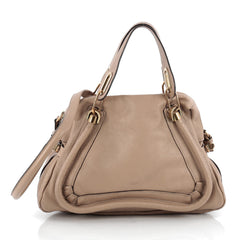 Chloe Paraty Top Handle Bag Leather Medium Neutral