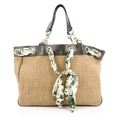 Gucci Positano Tote Raffia with Snakeskin Large Brown