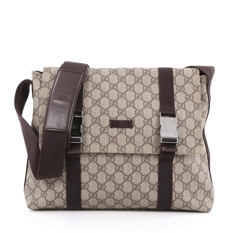 b04f80f8d5d2 Buy Gucci Messenger Buckle Bag GG Coated Canvas Medium Brown 1721101 – Rebag