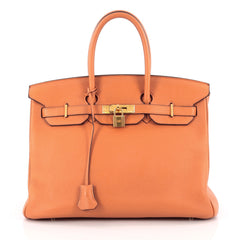 Hermes Birkin Handbag Orange Clemence with Gold Hardware 35 orange