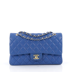 Chanel Classic Double Flap Bag Quilted Lambskin Medium Blue