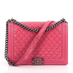 Chanel Boy Flap Bag Quilted Patent Large Pink