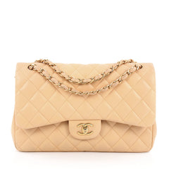 Chanel Classic Double Flap Bag Quilted Lambskin Jumbo Brown