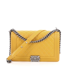 Chanel Boy Flap Bag Quilted Lambskin New Medium Yellow