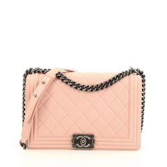 Chanel Boy Flap Bag Quilted Lambskin New Medium Pink