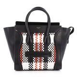 Celine Luggage Handbag Woven Leather Mini Black