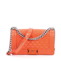 Chanel Boy Flap Bag Quilted Plexiglass Patent Old Medium Orange