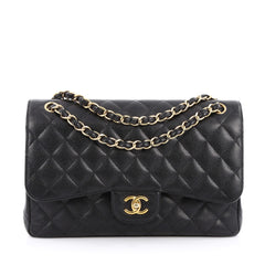 Chanel Classic Double Flap Bag Quilted Caviar Jumbo Black