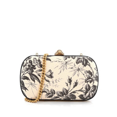 Gucci Broadway Box Clutch Printed Linen Neutral