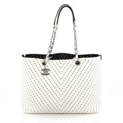 Chanel Shopping Tote Perforated Caviar Large White