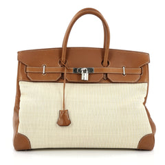 Hermes Birkin Handbag Crinoline and Brown Barenia with Palladium Hardware 40 Brown
