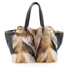 Salvatore Ferragamo Verve Tote Fox Fur and Leather Large Black