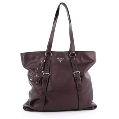 Prada Belted Tote Vitellino Mordo Large Purple