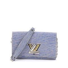 Louis Vuitton Twist Chain Wallet Epi Leather Blue